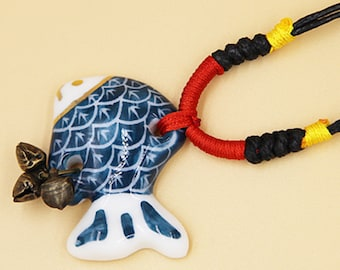 Ceramic Jewelry-fish Necklace, Adjustable, Hand Weaving