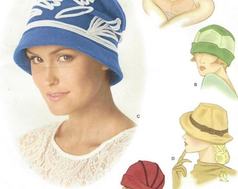 Theresa Laquey Womens Retro Hats in Three Sizes Simplicity Sewing Pattern 1736 Size Small, Medium & Large UnCut Cloche Hat Bucket Hat