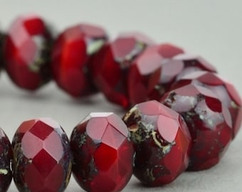 Czech Glass Beads - Czech Glass Rondelles - Red Opaline with Picasso Beads - 9x6mm - 25 Beads