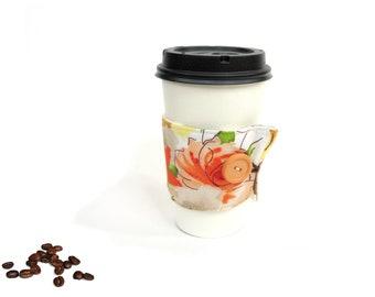 Fabric coffee cozy, reversible coffee sleeve, coffee to go, coffee lover, coffee drinker, hot cup holder