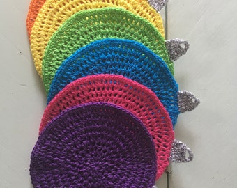 Crocheted coasters - set of six - bright colors - Christmas ornament - gift