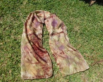 Beautifully eco printed silk scarf.