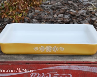 Vintage Butterfly Gold Pyrex Utility Dish 933 - Baking Pan