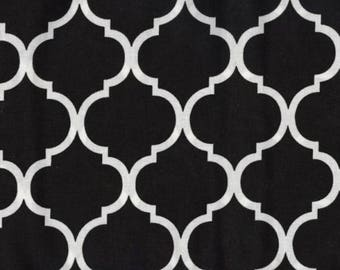 Quatrefoil Fabric White on Black 100% Cotton