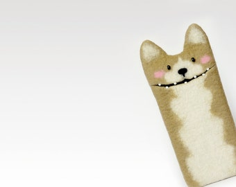 Corgi dog Samsung Galaxy A5 (2017) case, felted Corgi dog case, wool phone cover, corgi dog, pet lovers gift