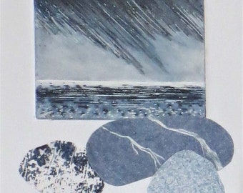 heavy rain storm over the ocean original mixed media and collage art
