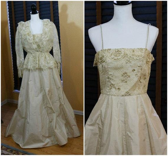 Richelene NY Evening Dress Gown, Champagne Silk Taffeta Full Skirt, Chantilly Lace Peplum Jacket, Spaghetti Straps, Weddings, 1980s Vintage