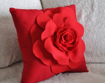 Red Rose on Red Pillow