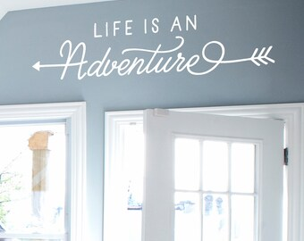 SALE  on WHITE  35 x 8- Life is an Adventure