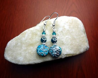 Blue and Silver Wire Wrapped Polymer Clay Earrings