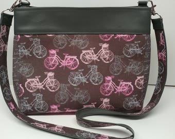 Gray Bicycles  and Dark Grey Vinyl handbag.  Perfect size for the essentials
