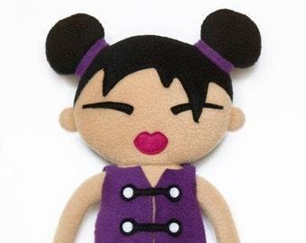 Cloth doll fleece sewing pattern -  Miko japanese rag doll