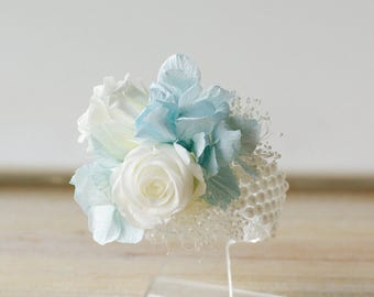 Corsage, Light blue, white roses, pin on corsage, wrist corsage, preserved dried flowers, flowers to wear, women's flowers, mom's flowers,