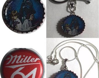 Miller 64 Beer bottle Cap Star wars ad Darth vader Leia Han Solo Keychain, Pendant, Necklace