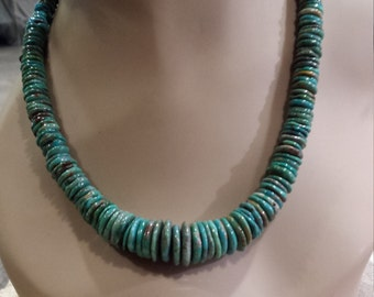 Turquoise natural flat bead necklsce