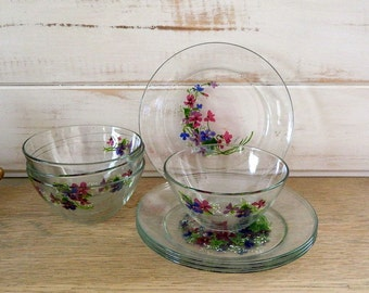 Arcoroc French Hand Painted Clear Glass Plates and Bowls - Artist Signed J Walsh - France