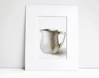 Rustic Pitcher Watercolor Painting Print, Art Print, Watercolor Print, Rustic Decor, Farm House