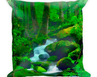 Forest Stream Spun Polyester Throw Pillow
