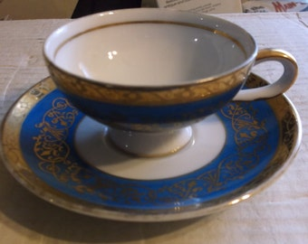Vintage Royal Crown Tea Cup and Saucer Blue with Gold Trim