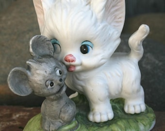 Cat and Mouse - Lefton China - Hand Painted 1315 - Adorable Cute Collectible Figurine