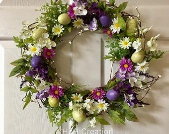 Easter eggs wreath,Easter flower wreath,Eggs flower wreath for front door,Easter decoration