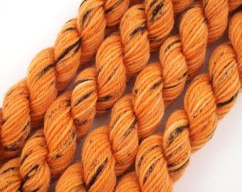 Pumpkin - Pot O'Gold 2018 Hand Dyed Semi Solid Speckled Sock Yarn Mini Skein - SW 75/25 - Superwash Merino Nylon - 42 yards - Dauphine