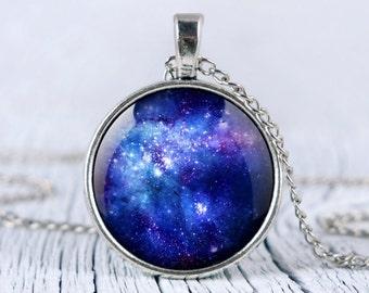 Galaxy blue necklace, blue nebula pendant, space necklace, universe jewelry