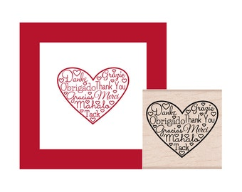 Thank You Heart Different Languages Rubber Stamp