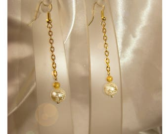 gold chains and Ivory Pearl Earrings