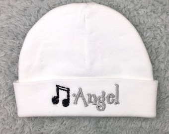 Personalized baby hat with musical notes - preemie hat newborn hat micro preemie hat NICU clothes baby gift personalized musical baby beanie