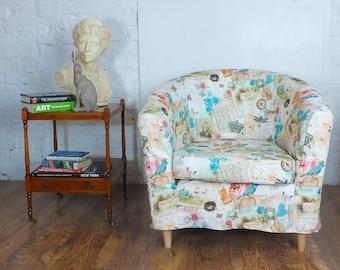 Ikea Tullsta Tub Chair Cover In Beautiful Vintage Look Bird Print Cotton.