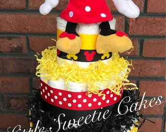 Minnie Mouse Disney Diaper Cake, Red Yellow Black diaper cake, Disney Baby Shower Centerpiece, Minnie Mouse baby shower