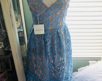 Blue Lace A line Dress