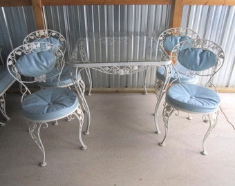 PICK UP ONLY Vintage Woodard Wrought Iron Chantilly Rose Table & 4 Chairs Patio Set with Vinyl Cushions