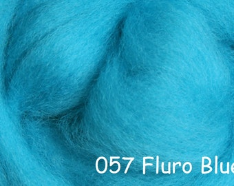 Fluro BLUE 10g NZ Ashford Corriedale Wool Top Silver Roving - Ship from USA