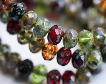 6x8mm Stone Picasso Rondelle - Faceted Rondelle Mix - Fire Polished Beads - Large Donut Beads - Bead Soup Beads