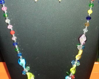 Fantasy original handmade necklace for women with matching earrings.