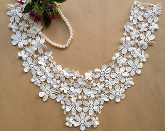 White Lace Collar Trim, White daisy floral Necklace, 1 Pcs