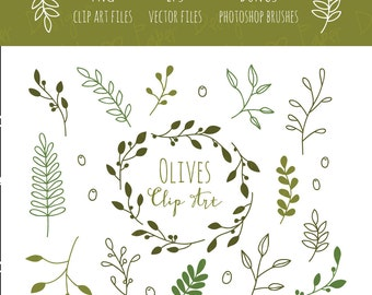 Olive Branches Clip Art, EPS and Bonus Photoshop Brushes