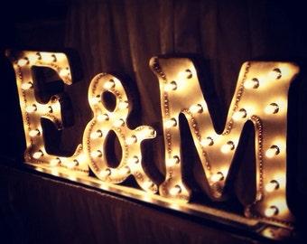 Bare Steel Marquee Wedding Initials - set of 3