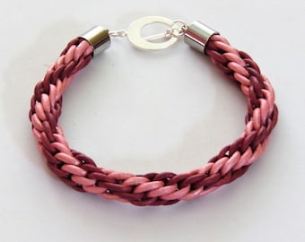 Leather spiral bracelet in pink and burgundy
