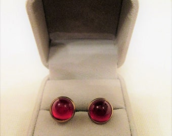 Vintage Red Cabachon Cufflinks Men's Art Deco Jewelry Accessory Gift