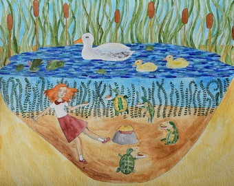 Annabelle Shares Pie with the Lake Turtles Art Illustration Drawing Original Painting