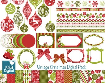 Christmas Digital Clipart and Paper Bundle - Scrapbook , card design, invitations, paper crafts, web design - INSTANT DOWNLOAD