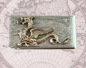 Money Clip Dragon Game of Thrones Inspired Inlaid in Metallic Silver Glossy Enamel on Silver Plated Clip