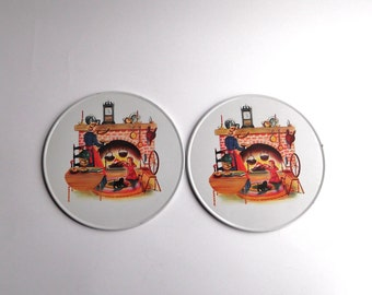 Antique 1950's Advertising Fireplace Scene Frigidaire Pair of Stovetop Burner Covers