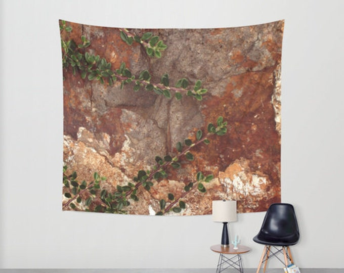 Hanging Tapestry - Wall Tapestry - Rocks and Leaves - Brown - Nature Photo - Large Wall Hanging - Home Decor - Made to Order