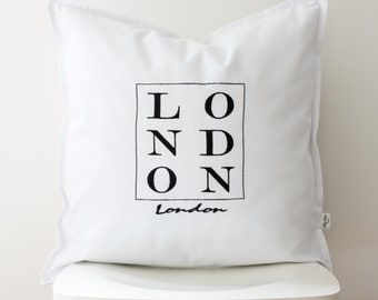 London lettering cushion cover,word cushion,word pillowcase,typography cushion,london pillowcase,monochrome cushion,monochrome pillow