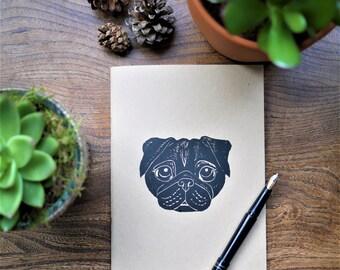 Black Pug A5 Kraft Sketchbook Notebook Lino Print Art Hand Printed Pug Gift Dog Gift Artist Gift /// Betty