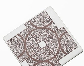 Handmade ceramic tile trivet - white matte with decal image of an original drawing by Tessa Crosby -  imaginative and meditative motif